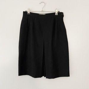 Vintage Valentino Black Kick Pleat A-Line Skirt